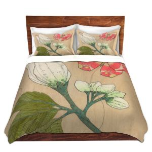 Artistic Duvet Covers and Shams Bedding | Paper Mosaic Studio - White Flower Red Butterfly