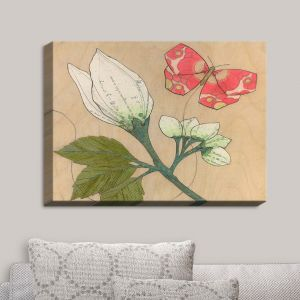 Decorative Canvas Wall Art | Paper Mosaic Studio - White Flower Red Butterfly | Bugs Flower