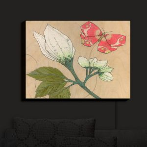 Nightlight Sconce Canvas Light | Paper Mosaic Studio - White Flower Red Butterfly | Bugs Flower