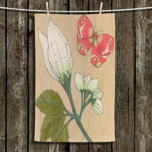 Unique Hanging Tea Towels | Paper Mosaic Studio - White Flower Red Butterfly | Bugs Flower