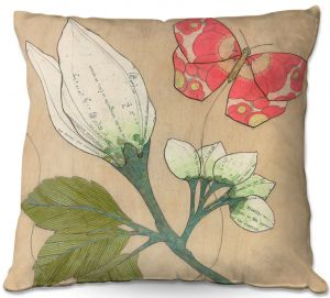 Decorative Outdoor Patio Pillow Cushion | Paper Mosaic Studio - White Flower Red Butterfly