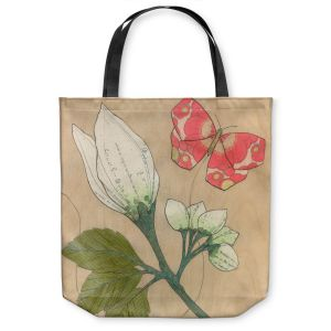 Unique Shoulder Bag Tote Bags   Paper Mosaic Studio - White Flower Red Butterfly