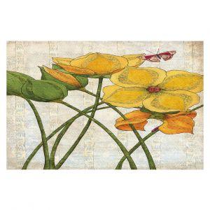 Decorative Floor Covering Mats | Paper Mosaic Studio - Yellow Flower | Floral nature