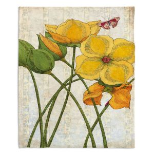 Decorative Fleece Throw Blankets | Paper Mosaic Studio - Yellow Flower | Floral nature