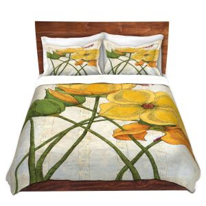 Artistic Duvet Covers and Shams Bedding | Paper Mosaic Studio - Yellow Flower | Floral nature