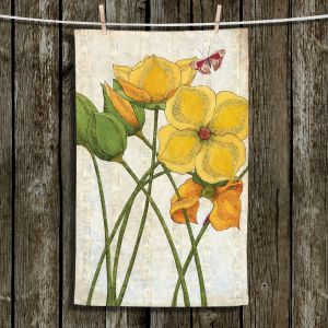 Unique Bathroom Towels | Paper Mosaic Studio - Yellow Flower | Floral nature