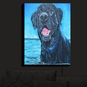 Nightlight Sconce Canvas Light | Patti Schermerhorn - Black Labrador Water | dog beach ocean swim
