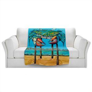 Artistic Sherpa Pile Blankets   Patti Schermerhorn - Blue Crab Rockprot   Beach Party