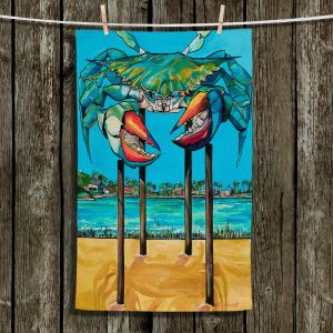 Unique Hanging Tea Towels | Patti Schermerhorn - Blue Crab Rockprot | Beach Party