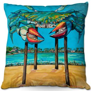Decorative Outdoor Patio Pillow Cushion | Patti Schermerhorn - Blue Crab Rockprot | Beach Party