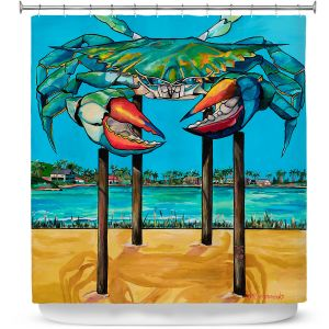Premium Shower Curtains | Patti Schermerhorn - Blue Crab Rockprot | Beach Party