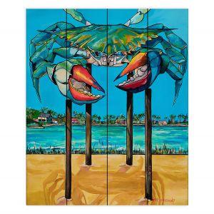 Decorative Wood Plank Wall Art | Patti Schermerhorn - Blue Crab Rockprot | Beach Party