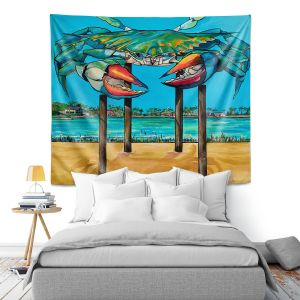 Artistic Wall Tapestry | Patti Schermerhorn - Blue Crab Rockprot | Beach Party