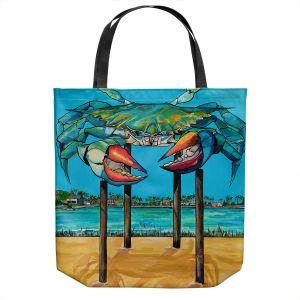 Unique Shoulder Bag Tote Bags | Patti Schermerhorn - Blue Crab Rockprot | Beach Party