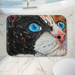 Decorative Bathroom Mats | Patti Schermerhorn - Cat In Color | Blue eye cat animal