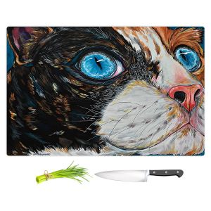 Artistic Kitchen Bar Cutting Boards | Patti Schermerhorn - Cat In Color | Blue eye cat animal