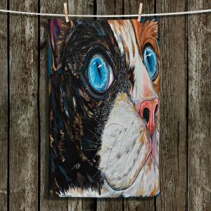 Unique Hanging Tea Towels | Patti Schermerhorn - Cat In Color | Blue eye cat animal