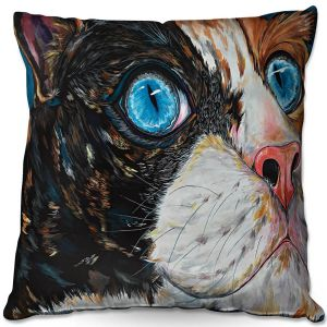 Throw Pillows Decorative Artistic | Patti Schermerhorn - Cat In Color | Blue eye cat animal