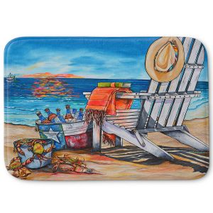 Decorative Bathroom Mats | Patti Schermerhorn - Cerveza Beach | ocean coast summer beer