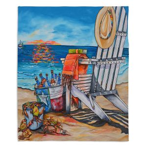 Decorative Fleece Throw Blankets | Patti Schermerhorn - Cerveza Beach | ocean coast summer beer