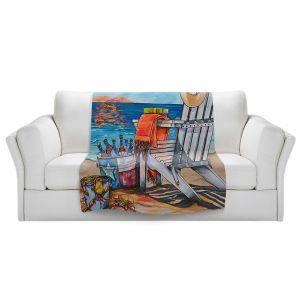 Artistic Sherpa Pile Blankets   Patti Schermerhorn - Cerveza Beach   ocean coast summer beer