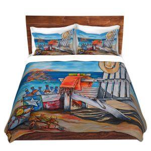 Artistic Duvet Covers and Shams Bedding | Patti Schermerhorn - Cerveza Beach | ocean coast summer beer