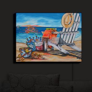 Nightlight Sconce Canvas Light | Patti Schermerhorn - Cerveza Beach | ocean coast summer beer