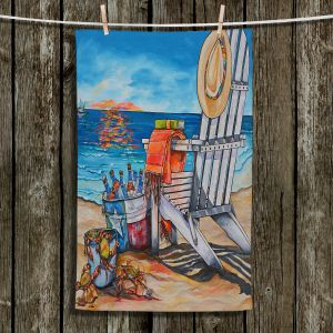Unique Hanging Tea Towels | Patti Schermerhorn - Cerveza Beach | ocean coast summer beer