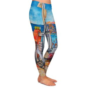 Casual Comfortable Leggings | Patti Schermerhorn - Cerveza Beach | ocean coast summer beer