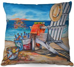 Throw Pillows Decorative Artistic | Patti Schermerhorn - Cerveza Beach | ocean coast summer beer