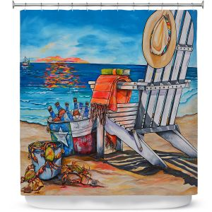 Premium Shower Curtains | Patti Schermerhorn - Cerveza Beach | ocean coast summer beer