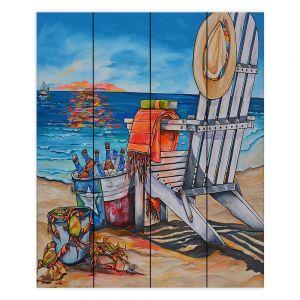 Decorative Wood Plank Wall Art | Patti Schermerhorn - Cerveza Beach | ocean coast summer beer