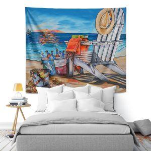 Artistic Wall Tapestry | Patti Schermerhorn - Cerveza Beach | ocean coast summer beer
