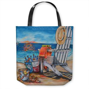 Unique Shoulder Bag Tote Bags | Patti Schermerhorn - Cerveza Beach | ocean coast summer beer