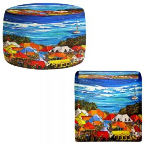 Round and Square Ottoman Foot Stools | Patti Schermerhorn - Colors of St. Martin