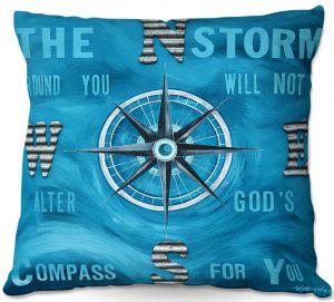 Decorative Outdoor Patio Pillow Cushion | Patti Schermerhorn - Gods Nautical Compass