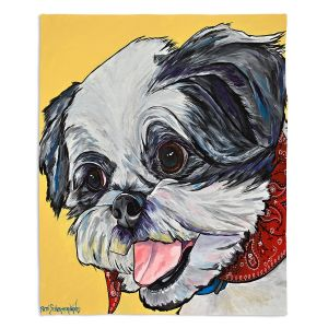Decorative Fleece Throw Blankets | Patti Schermerhorn - Happy Shih Tzu | Dog Animal