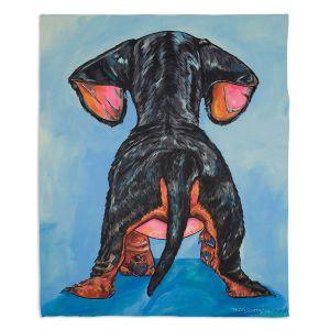 Decorative Fleece Throw Blankets | Patti Schermerhorn - Hindsight Dachshund | Animals Dogs