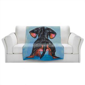 Artistic Sherpa Pile Blankets | Patti Schermerhorn - Hindsight Dachshund | Animals Dogs