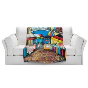 Artistic Sherpa Pile Blankets   Patti Schermerhorn - Historic Market Square   town street shopping