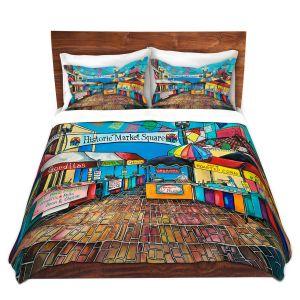 Artistic Duvet Covers and Shams Bedding | Patti Schermerhorn - Historic Market Square | town street shopping