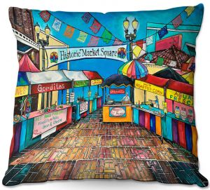 Decorative Outdoor Patio Pillow Cushion | Patti Schermerhorn - Historic Market Square | town street shopping