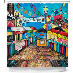 Premium Shower Curtains | Patti Schermerhorn - Historic Market Square | town street shopping