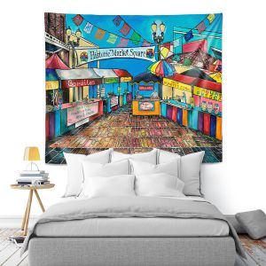 Artistic Wall Tapestry | Patti Schermerhorn - Historic Market Square | town street shopping