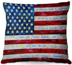 Decorative Outdoor Patio Pillow Cushion   Patti Schermerhorn - I Believe USA   flag america patriotism