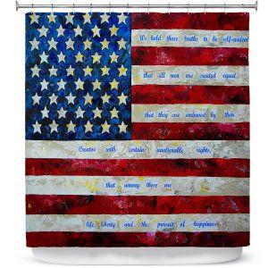 Premium Shower Curtains | Patti Schermerhorn - I Believe USA | flag america patriotism