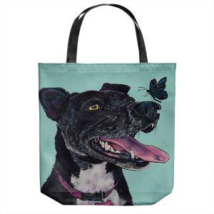Unique Shoulder Bag Tote Bags | Patti Schermerhorn - Jessica Butterfly Terrier | Animals Dogs