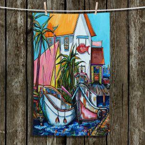 Unique Hanging Tea Towels | Patti Schermerhorn - Just a Little Beach Town | Boats Dock Ocean Fishing