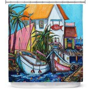 Premium Shower Curtains | Patti Schermerhorn Just a Little Beach Town