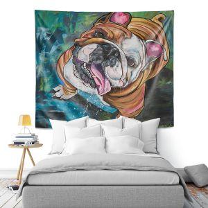 Artistic Wall Tapestry   Patti Schermerhorn - Kissy Bulldog   Animals Dogs